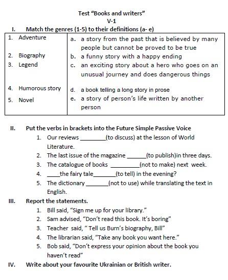 контрольна з англійської мови 8 клас